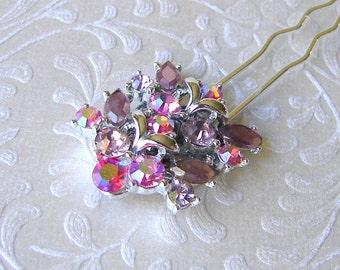 SAMPLE SALE Lilac Pink Yarrow Rhinestone Hair Comb Pageant Hairpiece Ballroom Jeweled Headpiece Bride Prom Formal Wedding Vintage Jewelry AB