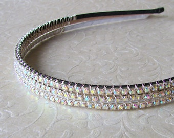 Thin Rhinestone Headband Wedding Headpiece Bridal Head Band Aurora Borealis Diadem Hairpiece Bohemian Chic Ballroom Pageant Jewelry Prom
