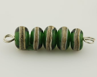Sage Green and Silvered Ivory Handmade Glass Lampwork Bead Set