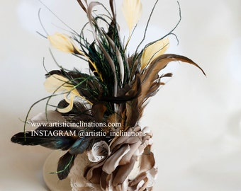 Vintage Affair - Ivory Mini Top Hat with a Heap of Feathers and Handmade Couture Flower