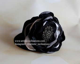 Two Cute Four You - Mini Top Hat with Black White and Silver Handmade Flower