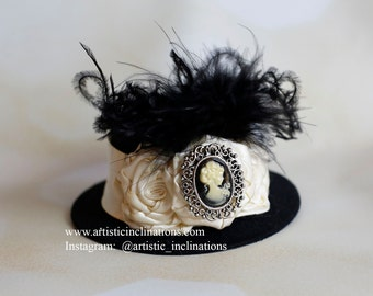 Vintage Glam - Black Mini Top Hat with Trio of Ivory Rosettes and Black Feathers - Photo Prop