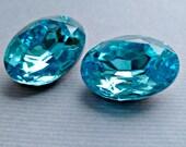 Two 18x13mm Czech Aquamarine Blue Oval Glass Rhinestone Jewels (19-15F-2)