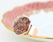 Faux Druzy Ring, Rose Gold Statement Ring - Cocktail Ring, Rose Gold Jewelry, Womans Ring, Adjustable Ring, Metallic, Gift For Woman