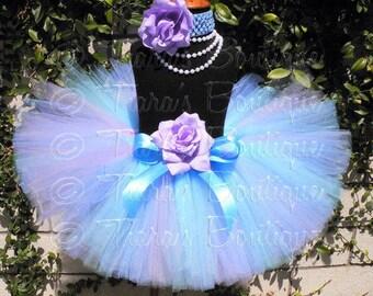 Blue Purple Tutu, Girls Birthday Tutu Set, Tutu Skirt and Flower Headband, Light Blue & Lavender Tutu, Periwinkle, Custom Sewn Tutu