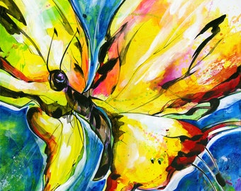 "Yellow Butterfly Painting, Large Canvas, Abstract Art, ""Joyful Ecstasy No 3"" Original Colorful Contemporary Art by Kathy Morton Stanion EBSQ"