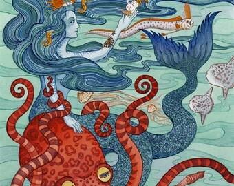 "Mermaid Octopus Archival Art Print 11"" x14"""