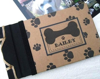 "Personalized Pet Photo Album, Dog Gift, New Puppy Gift, Animal Lover, Pet Memorial, Paw Prints, 5.5"" x 10"",  Photo Album, Animal Gift"