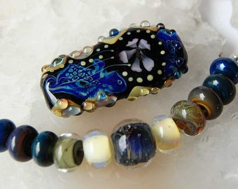 Focal * Morning Due * & 11 Accent Beads Blue Black Light Yellow Handmade Lampwork Beads Glass Beads by Beadfairy Lampwork