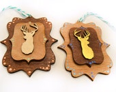 Wood deer ornament