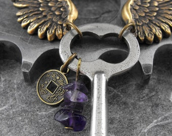 Winged Skeleton Key Amethyst Necklace - Guardian Angel of the Machina by COGnitive Creations