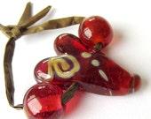 Lampwork Glass Focal Heart Glass Bead Set Rose Red