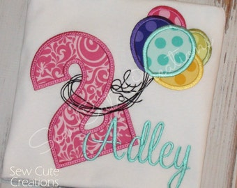 Balloon Birthday shirt, Girl Birthday Balloon shirt, Boy Birthday Balloon shirt, BIRTHDAY NUMBERS 1-5 ONLY sew cute creations