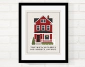 Custom Home Illustration, Personalized Gift, Welcome Home, Gift for Parent or Grandmother, Housewarming, House Portrait - 8x10 Art Print