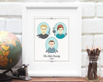 Custom Family Illustration, Personalized Family Portrait, Family Tree Art Print, Personalized Family of Three Drawing - Art Print