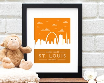 Personalized St. Louis Skyline New Baby Nursery Art Gift, Baby Boy Gift, Personalized St. Louis Art, New Baby Girl Gift, Baby Name, Birthday