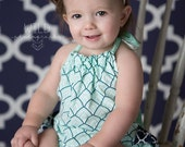 Headband Made to Match Amy's Buttons and Bows Navy and Mint Romper