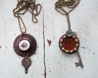 Repurposed Vintage Necklace Green and Brown