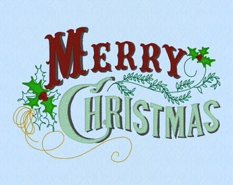 Merry Christmas Western Vintage script machine embroidery design file