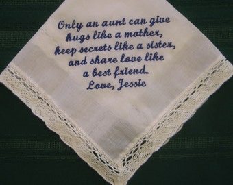 Personalized Wedding Handkerchief For Your Aunt 175S embroidered hankie,hanky
