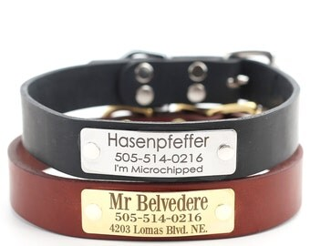 Engraved Name Plate Dog Collar, English Bridle Dog Collar, Personalized Dog Collar, Custom Dog Collar -- 3 Classic colors to choose from