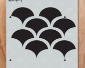 Solid Scallop Repeat Pattern Wall Stencil- Reusable Craft & DIY Stencils- S1_PA_54 -11x11- By Stencil1
