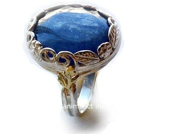Silver engagement ring, silver gold ring, alternative ring, kynite ring , bohemian ring, Flower ring, princess Crown ring - Spiritual R2106