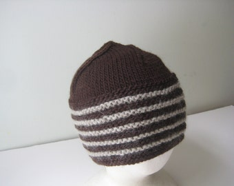 brown hat mans wool cap with gray stripes