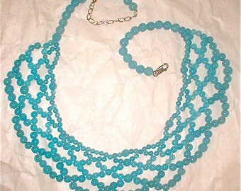 Sky Blue Beaded Necklace - Glass Beaded Bib Necklace -