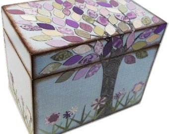 Recipe Box, Decoupaged Wood Box, Decorative Tree Box, Holds 3x5 Cards, Recipe Organizer, Storage Organization, Kitchen Decor, MADE TO ORDER