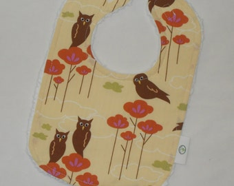 Yellow Coutourier Owls Fabric and Chenille Bib