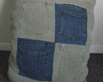 Upcycled Denim Throw Pillow With Pockets - Jean Patchwork