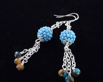 Turquoise Earrings, Dangle Earrings, Southwestern, Silver Chain, Beaded Earrings, Chic Design, Boho Earrings