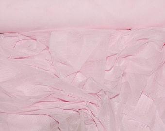 "Power mesh stretch fabric, semi sheer, 4 ways stretch.. Bubblegum  Pink.. 58 "" wide.. dance, pageant, formal, costume,"