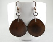 Dark Chocolate Brown Tagua Nut Eco Friendly Earrings with Free USA Shipping