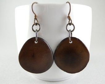 Dark Chocolate Brown Tagua Nut Eco Friendly Earrings with Free USA Shipping #taguanut #ecofriendlyjewelry