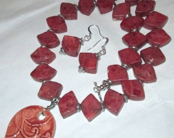 Dessert Sun Brick Red Flower Pendant with complimentary stones necklace and earrings set hand made by Ziporgiabella