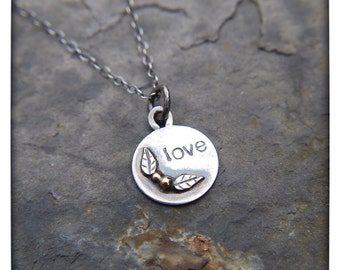 Sterling Silver Love Necklace with 14k Gold