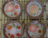 Terra Cotta Coasters with flowers, Coaster set of 4,  Barco de cabotaje