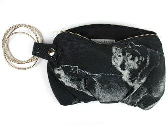 Wolves Howling at the Moon Black Purple & White Bracelet Handbag