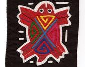SALE - Colorful, Hand Sewn, Red, Sea Turtle Mola/Molita  - Kuna Indian Reverse Applique