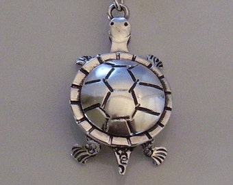 Sterling Silver Tortoise Pendant Necklace