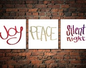 """SALE! INSTANT DOWNLOAD: Holiday Glitter Trio of Limited Edition Prints """"Joy, Peace, Silent Night"""" (printable)"""