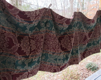 Large Woven Tablecloth - Burgundy and Green - Formal Dining - Holiday Tablecloth