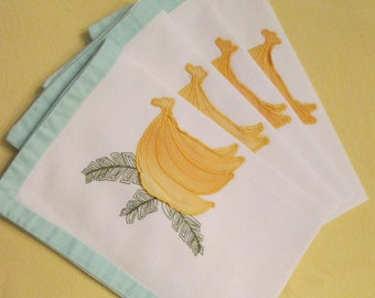 Four Vintage Placemats - Green and Yellow Bananas - Breakfast Placemats