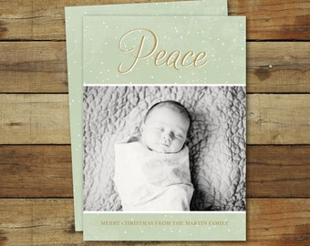 Peace Christmas card, photo card, holiday card, snowy Christmas card, and possible birth announcement