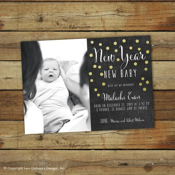 New Years birth announcement New Year New baby chalkboard – New Years Birth Announcements