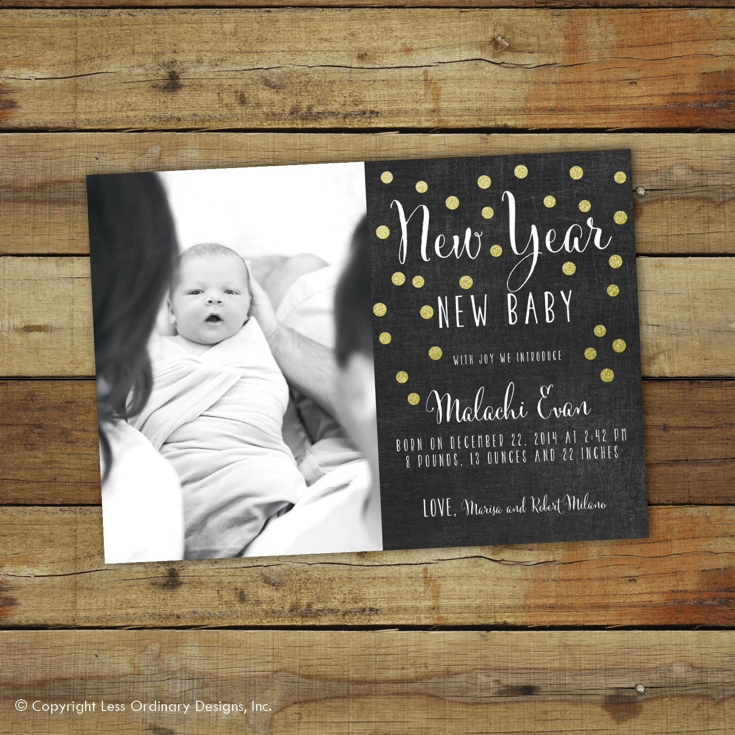 new years birth announcement new year new baby chalkboard