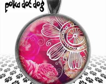 Hot Pink -- Bohemian Style Hot Pink Flowers Large Glass-Covered Pendant