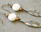 Free bird. Feather earrings southwestern white turquoise long dangle feather earrings. Tiedupmemories